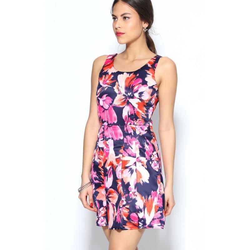 Šaty s potiskem a skládanou sukní