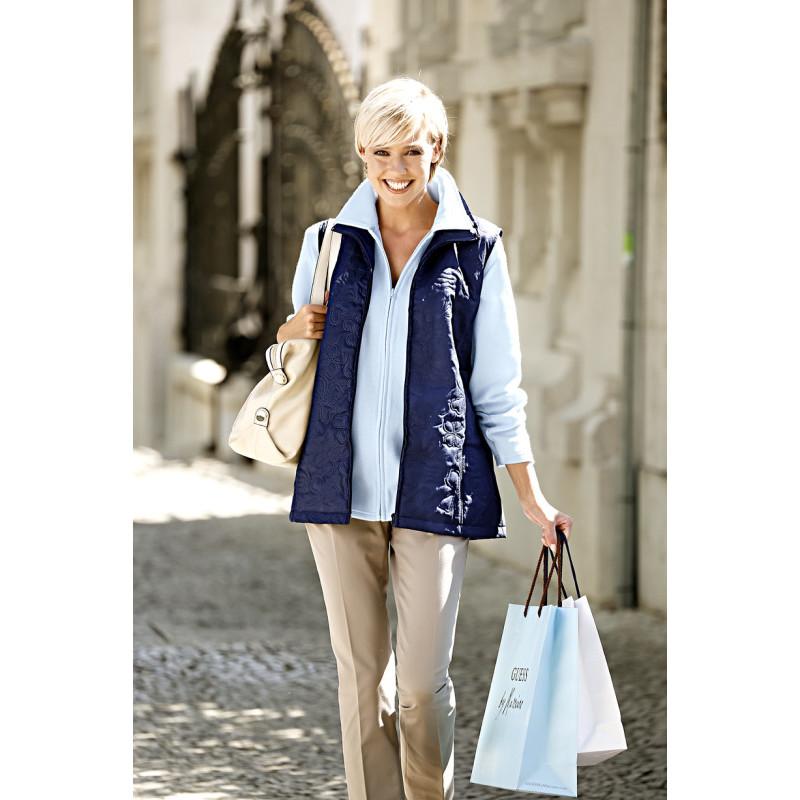 Fleecová mikina a prešívaná vesta, svetlomodrá/modrá