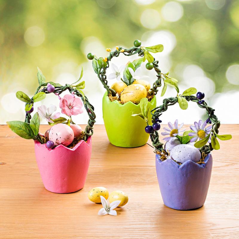 Kvetináč s dekoráciou, zelená