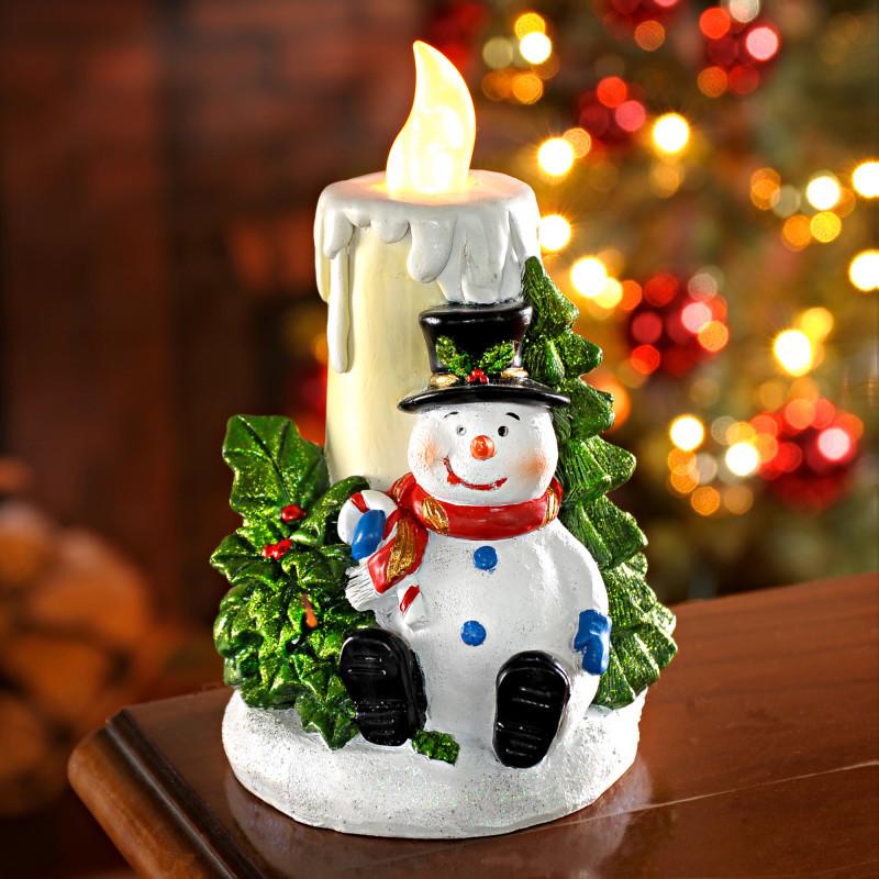 LED svíčka se sněhulákem onerror=