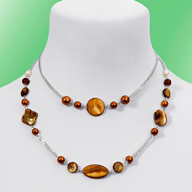 Dvouřadý náhrdelník, jantarová onerror=