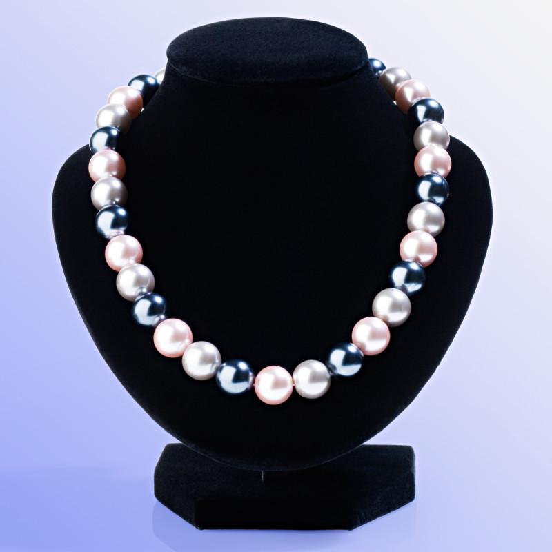 Náhrdelník zo sklenených perál, sivá/fialová