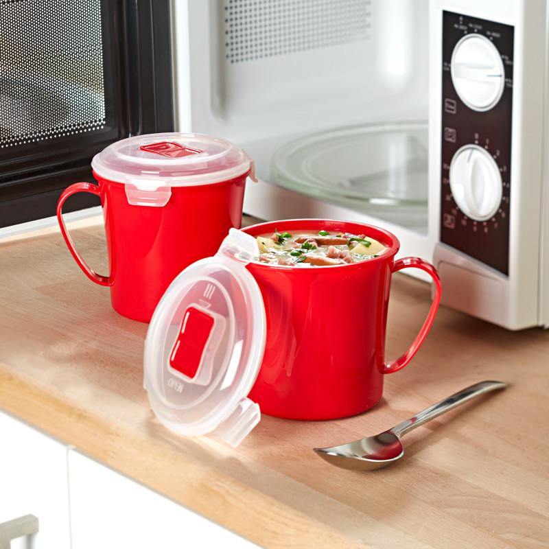 2 hrnky na polévku do mikrovlnky, červená onerror=