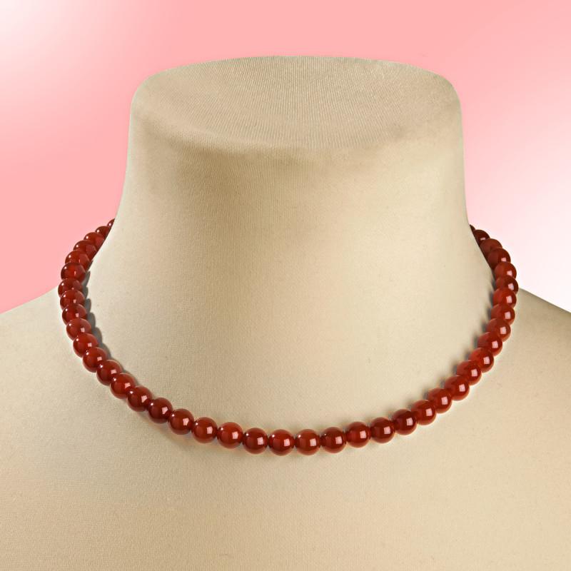 Achátový náhrdelník, červená
