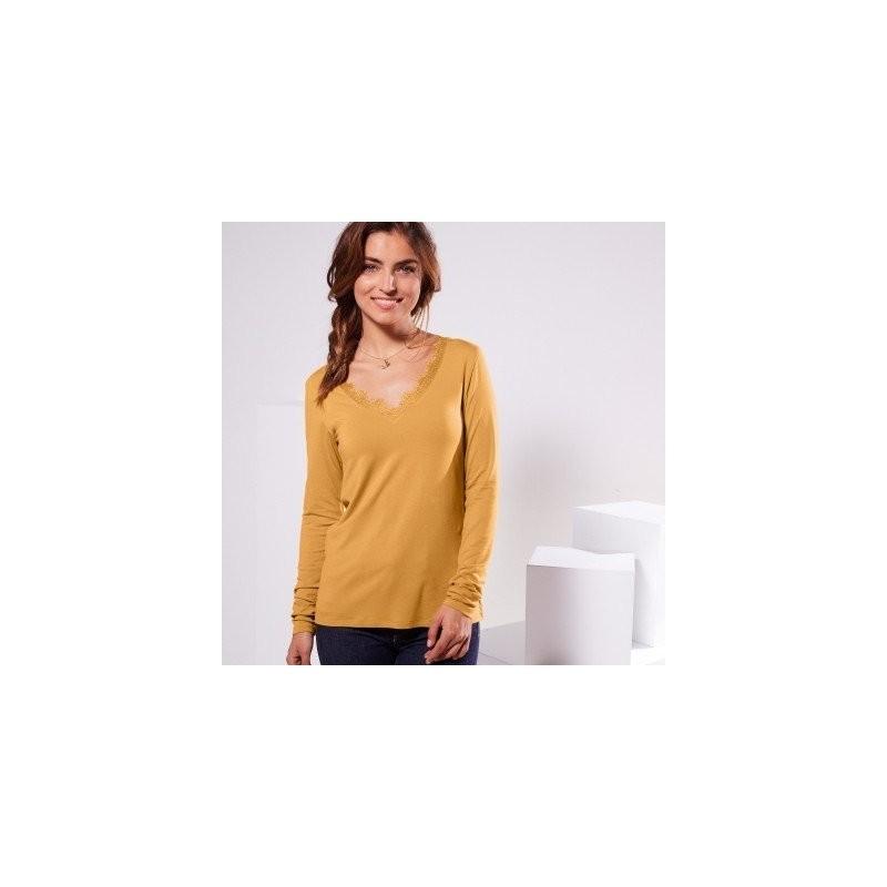 Jednofarebné tričko s výstrihom do