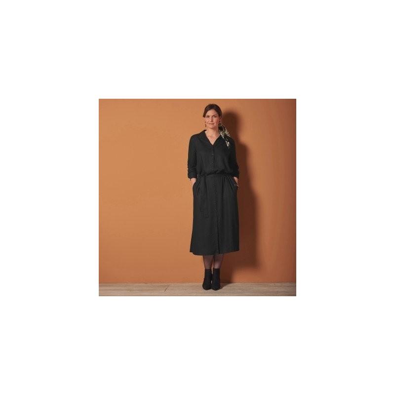 Košilové jednobarevné šaty, černé