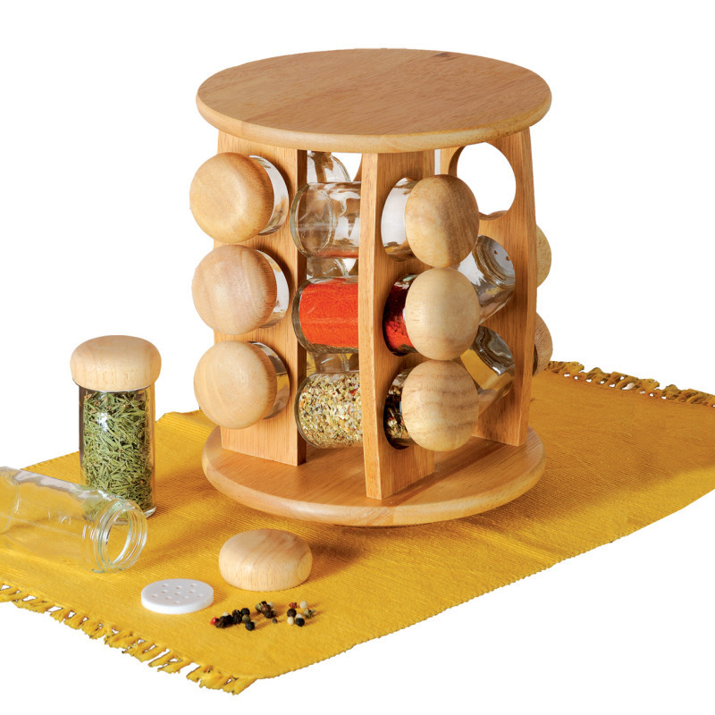 Pojemniki na przyprawy szkło/drewno 12 szt. + stojak z drewna onerror=