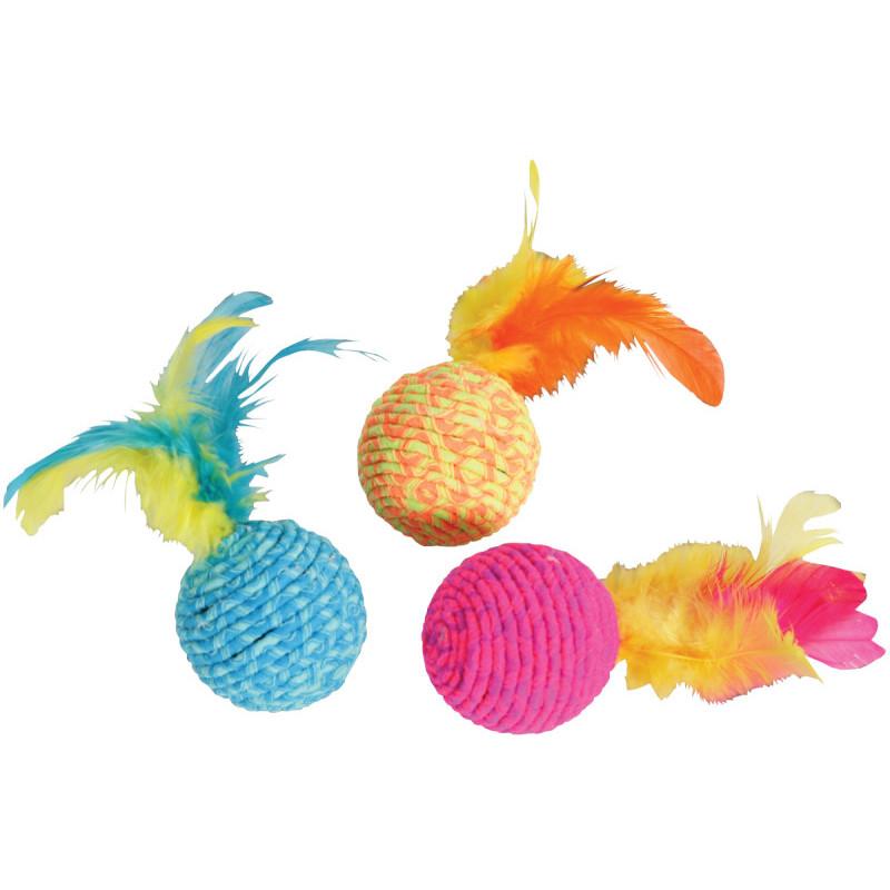 Piłka z kolorowymi piórkami dla kotów onerror=