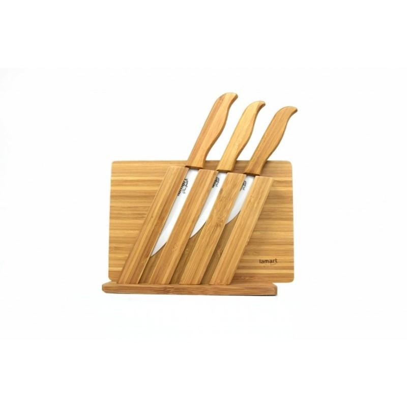 Ceramiczne noże + bambusowa deska do krojenia onerror=