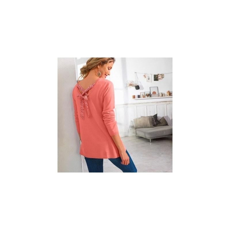 Jednobarevný pulovr se šněrováním zádech, minimalistický design