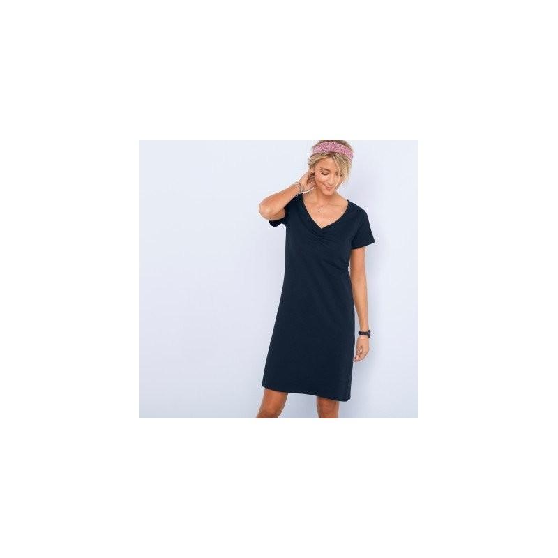 Sukienka jednokolorowa z krótkim rękawem onerror=