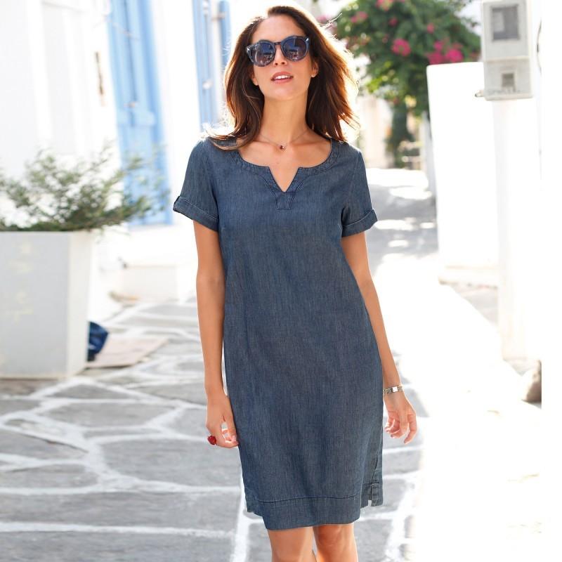 Sukienka jeansowa z krótkim rękawem onerror=