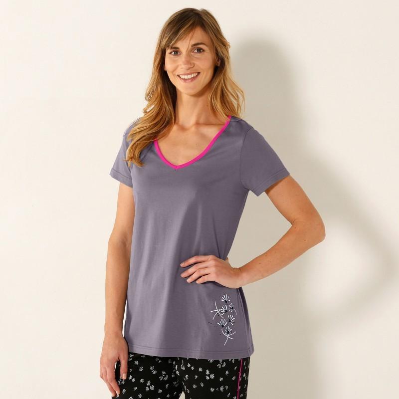 Pyžamové tričko, středový potisk, kr. rukáv, výstřih do