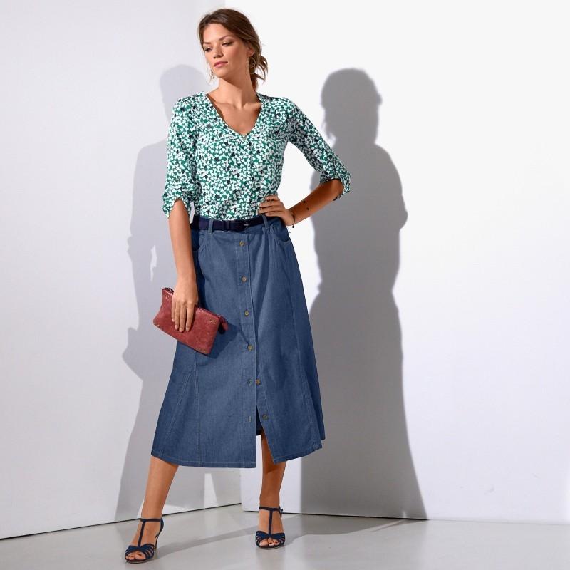 Polodlhá džínsová sukňa