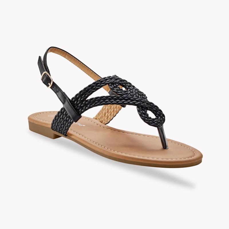 Sandály se splétaným páskem mezi prsty, černé