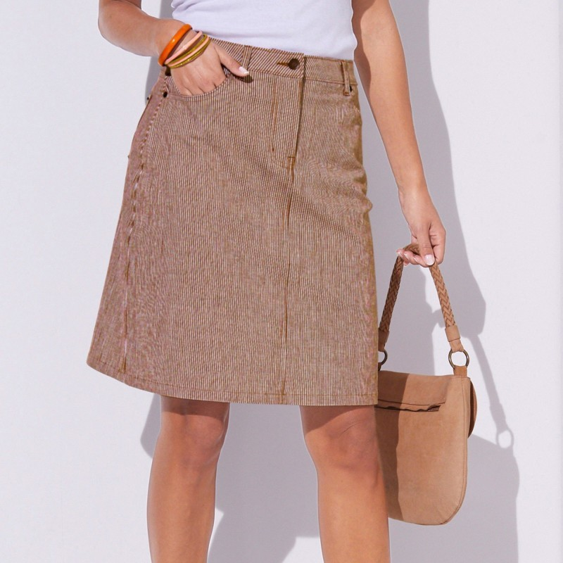 Spódnica w paski, rozszerzony krój onerror=