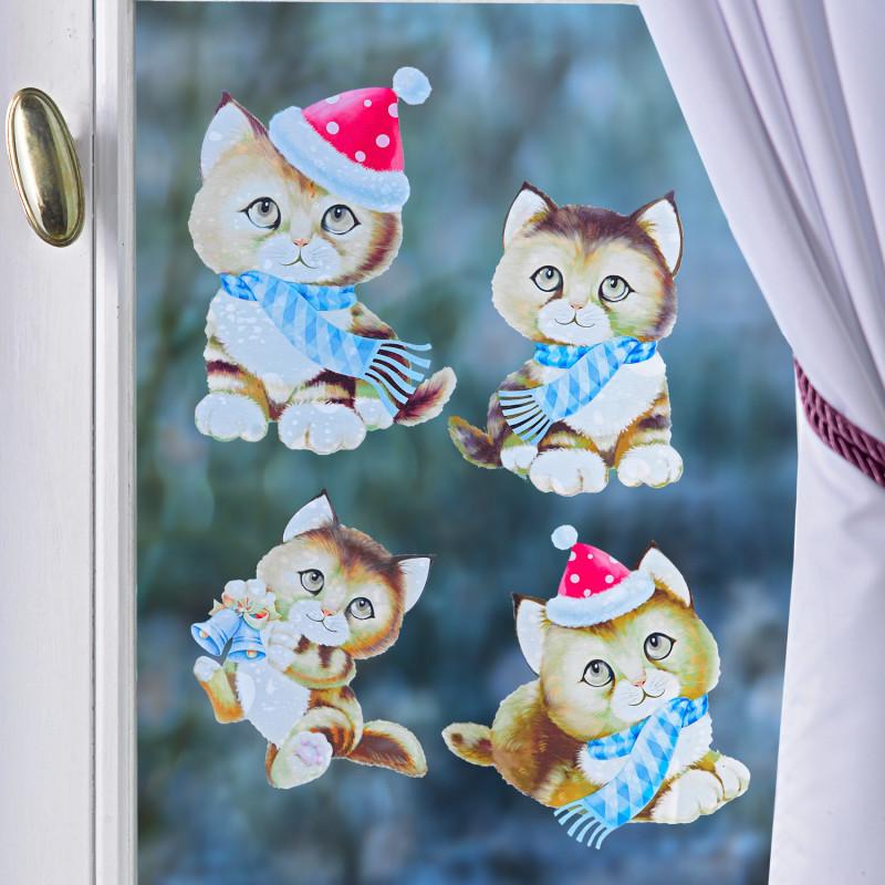4dílný obrázek na okno Vánoční koťátka onerror=