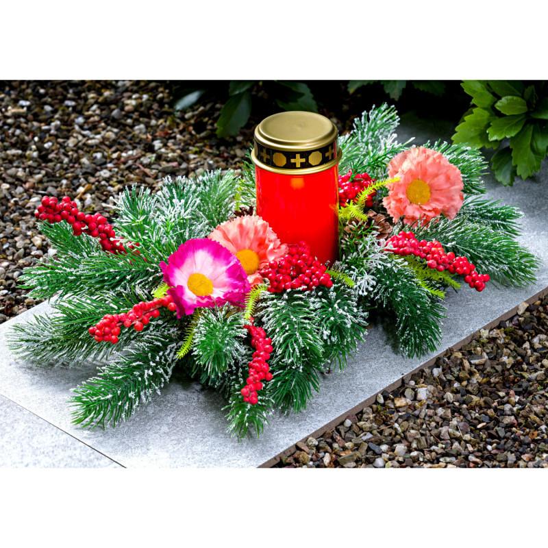Dekorace na hrob s LED svíčkou onerror=
