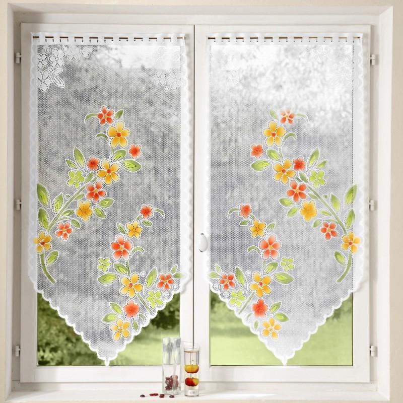 Vitrážová záclona s květy