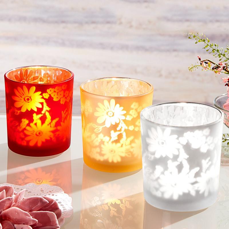 Skleněný svícen na čajovou svíčku onerror=