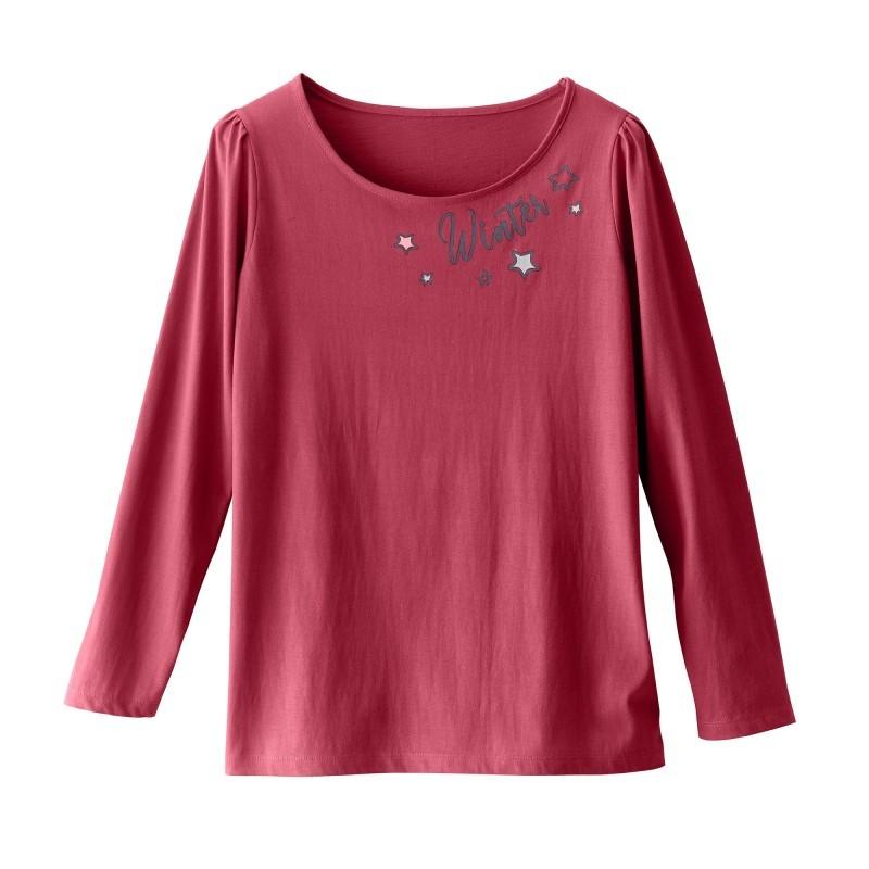 Pyžamové tričko s potiskem textu a dlouhými rukávy