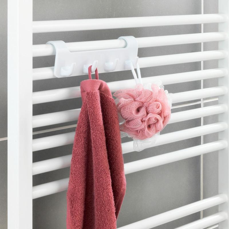 Vešiak na kúpeľňové radiátory so 4 háčikmi