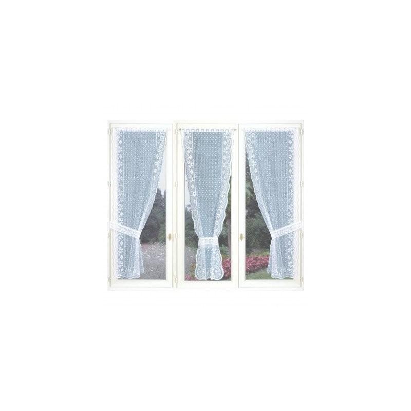 Trojdielna jednofarebná čipková záclona so zvlneným zakončením