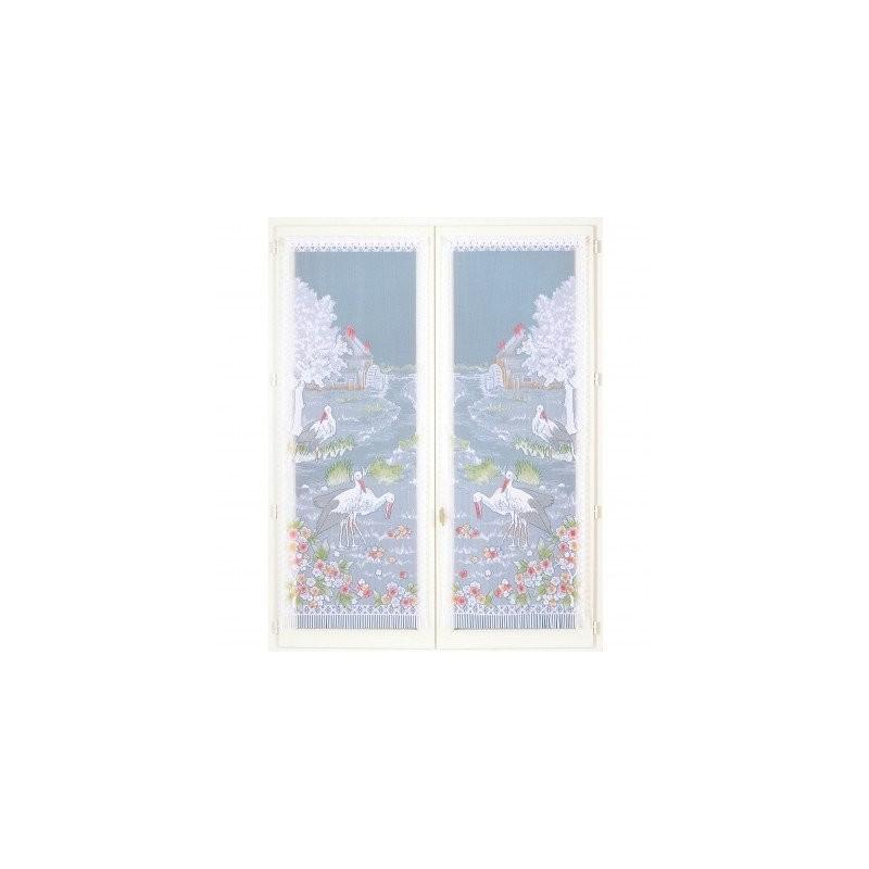Dvojdílná vitrážová záclona s motivem labutí