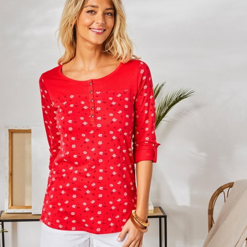 Tuniské tričko s potlačou rastlín