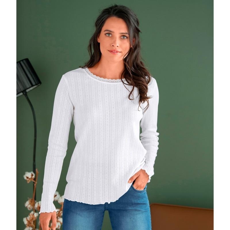Vrúbkované tričko s ažúrovým vzorom
