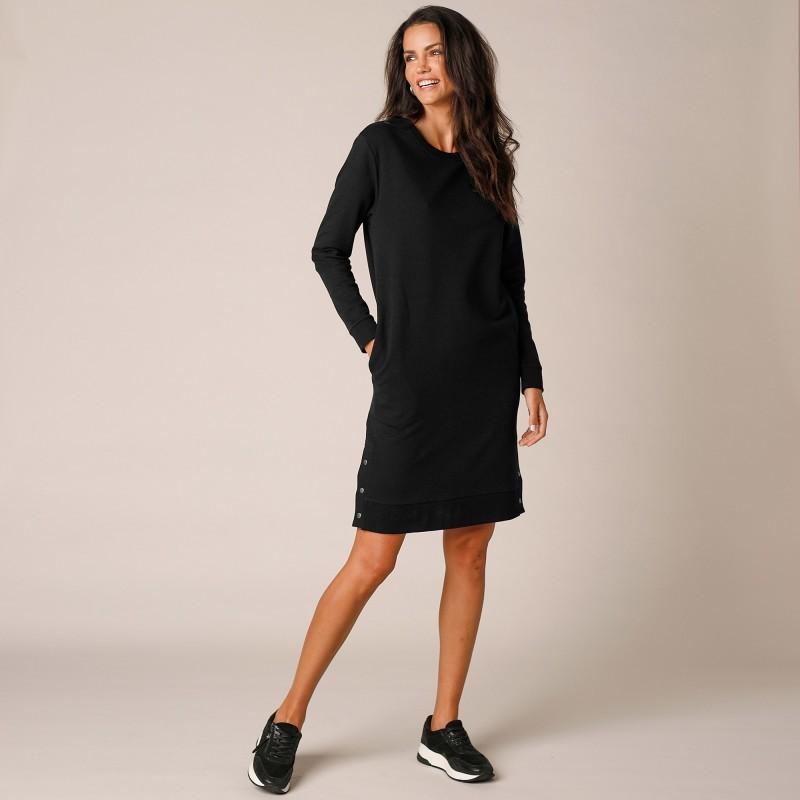 Meltonové mikinové šaty s dlhými rukávmi