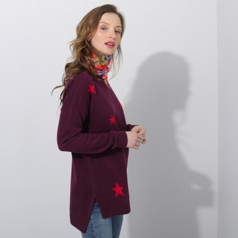 Žakárový pulovr s hvězdičkami