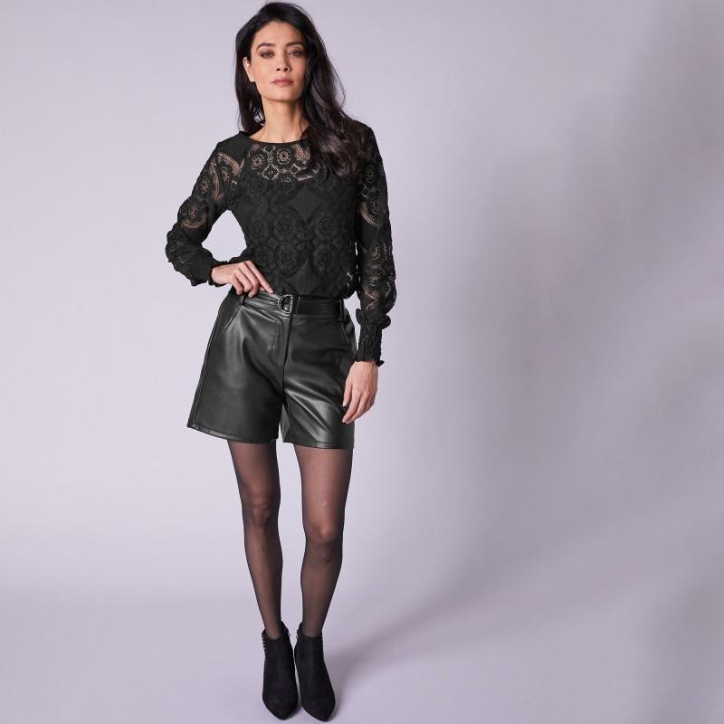 Koženkové šortky (1) s odnímateľným opaskom