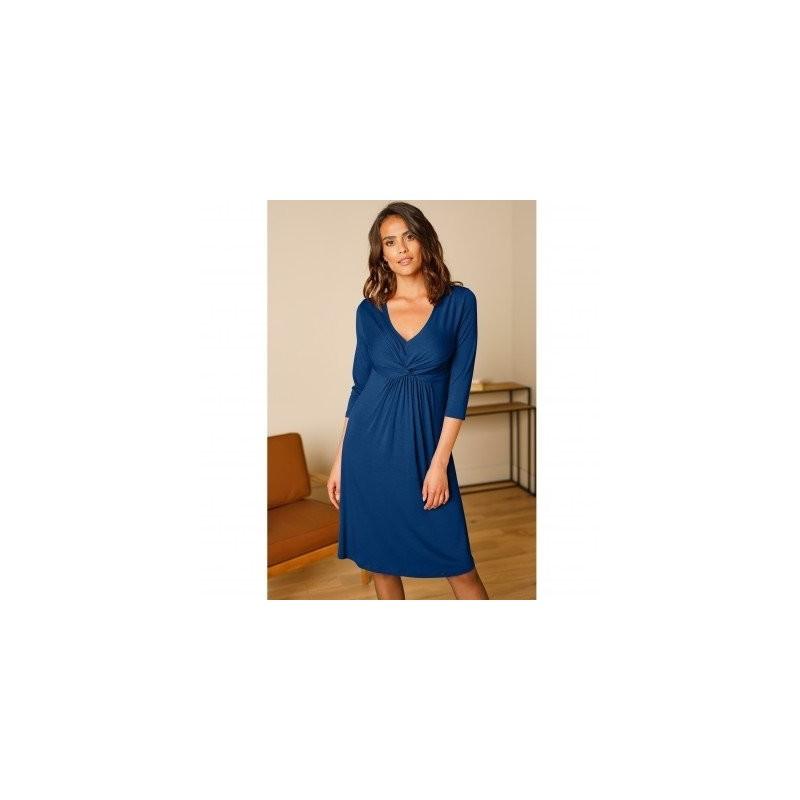 Jednofarebné krátke šaty s uzlom a 3/4 rukávmi