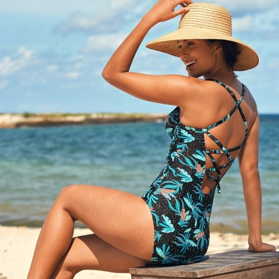 Jednodílné plavky Tiria, s kosticemi