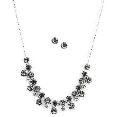 Souprava šperků s černými krystaly Swarovski, stříbro