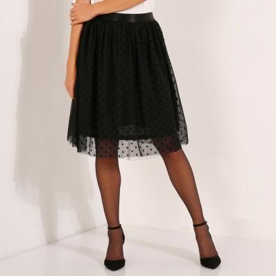 Tylová sukně se vzorkem peříčka