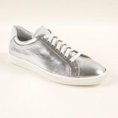 Kožené dvoubarevné tenisky, stříbrná/bílá