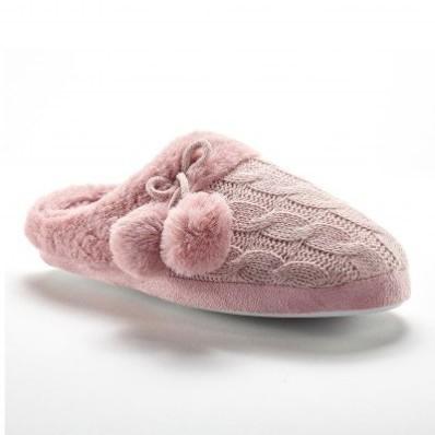 Pletené pantofle se střapci, nepravá kožešina