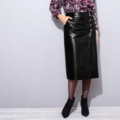 Puzdrová koženková sukňa
