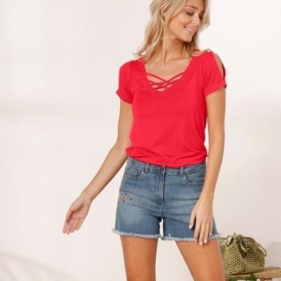 Jednobarevné tričko se šněrováním