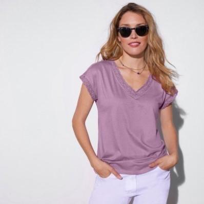 Jednobarevné tričko macramé s krátkými rukávy