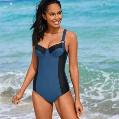 Jednodílné dvoubarevné plavky Solaro, s kosticemi