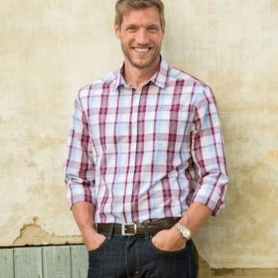 Kostkovaná košile s dlouhými rukávy, popelín