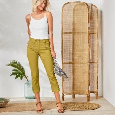 3/4 barevné kalhoty s knoflíky na koncích nohavic