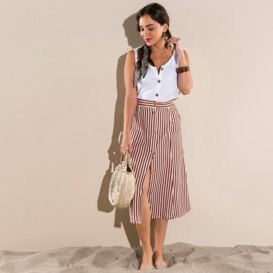 Pruhovaná sukně s knoflíky