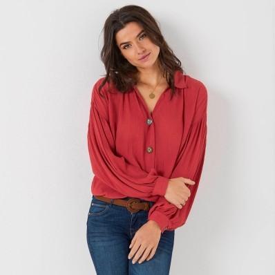 Košilová halenka na knoflíčky, jednobarevná