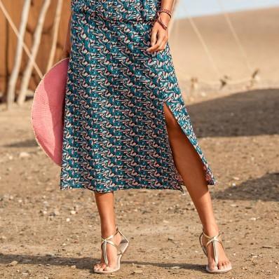 Úpletová sukňa s potlačou