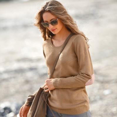Jednobarevný pulovr s kulatým výstřihem