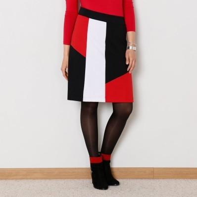 Sukně s grafickým vzorem, z úpletu Milano